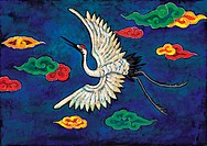 vertebrate, Orientalpainting, animal, cloud, crane, bird, tradition