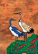 animal, Orientalpainting, pine, pair, crane, vertebrate, tradition