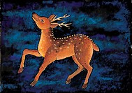 mammal, Orientalpainting, vertebrate, animal, deer, land animal, tradition