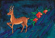 animal, Orientalpainting, stone, mountain, deer, vertebrate, tradition