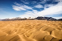 Aerial landscape of sand dunes in Great Sand Dunes National Park, Colorado (thumbnail)