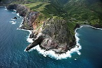 Aerial view of rocky cliffs on Maui, Hawaii coastline
