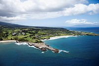 Aerial view of buildings on coastline of Maui, Hawaii