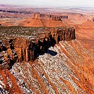 Aerial landscape of mesas in Canyonlands National Park, Moab, Utah, United States