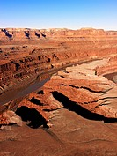 Aerial landscape of river canyon in Canyonlands National Park, Utah, United States