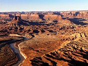 Aerial landscape of river in Canyonlands National Park, Moab, Utah, United States.