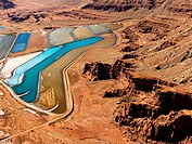 Aerial landscape of tailing ponds for mineral waste in rural Utah, United States