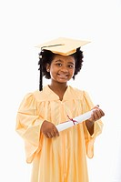 Girl in graduation robe and hat holding diploma