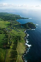 Aerial view of coastal community in Maui, Hawaii
