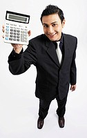 man holding up calculator, smiling