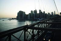 View of lower Manhattan from Brooklyn Bridge, New York City