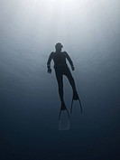 Freediver on his way to the surface. Ras Umm Sid, Sharm El Sheikh, South Sinai, Red Sea, Egypt