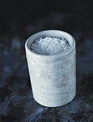 Coarse salt in ceramic container