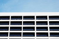 Architectural detail of the upper floors of an NCP car park, UK