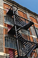 Fire escape staircase on a Victorian warehouse building