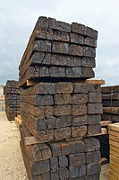 Stack of railway sleepers