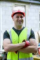 Portrait of a builder with hard hat