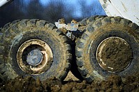 Detail of mud on wheels