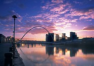 Competed Millennium Bridge and waterfront