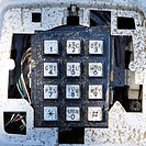 Closeup of old dirty telephone keypad