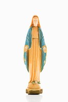 Virgin Mary statue with hands held out against white background
