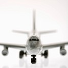 Selective focus of miniature model commuter jet airplane