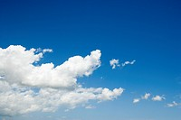 Cumulus cloud formation in blue sky