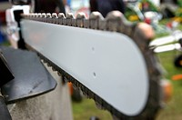Close up of a chain saw