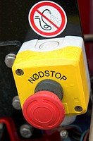 Panic button. Emergency stop on a construction machinery