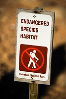 Endangered species habitat sign in Haleakala National Park in Maui, Hawaii