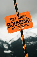 Ski area trail boundary sign