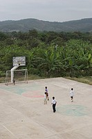 group of people, basketball ground