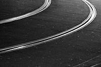 black and white, rail, railways, railway line, tram line, street