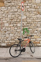 Bicycle, Brick Wall, Day, Information Board, Information Sign