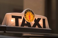 night, lights, city, taxi sign, public transportation, travel destination