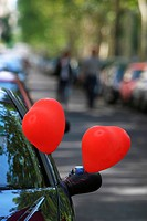 path, way, cars, parked, balloons, heart