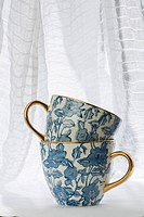 Blue, Ceramics, Close_Up, Cup, Curtain