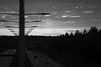Black And White, Highway, Darkness, Cars, Automobiles
