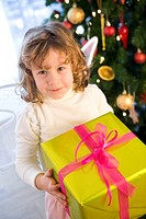 girl with christmas box