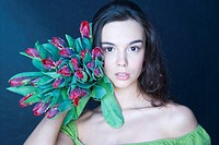Young woman with banch of tulips (thumbnail)