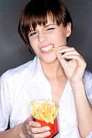 young woman with fries