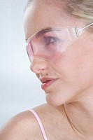 young woman with eyeglasses mask