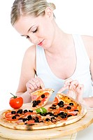 young woman with pizza