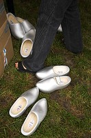 Cardboard Box, Casual Clothing, Clogs, Close_Up, Grass