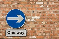 Blue, Close-Up, Circle, Brick Wall, Arrow Sign (thumbnail)