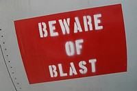 sign, hazard, message, beware of blast, paint, information