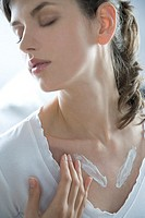 young woman creaming neckline
