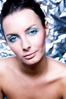 woman with blue makeup