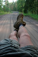 Feet, legs, boots, sitting, pose, highway (thumbnail)