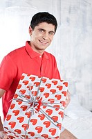 Man with valentines gift